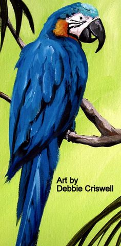Parrot on lime green background, original painting by Debbie Criswell - folkartmama , find more on Fine Art America and eBay ,folk art tropical art, beach decor