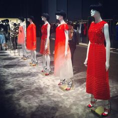 Red mink fur cutouts infused onto organza, and other organza dreams in coral at Fendi SS14 #mfw #fashionweek