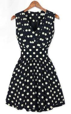 @SheInside black and white polka dot v-neck pleated dress. http://zodiacfashion.blogspot.com