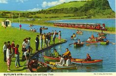 The Boating Lake and Camp Train at the Butlin's Ayr Holiday Camp in Ayr Scotland, Butlins Holidays, Bognor Regis, Camping Holiday, Vintage Holiday, Holiday Destinations, Vintage Postcards, Seaside, Ocean