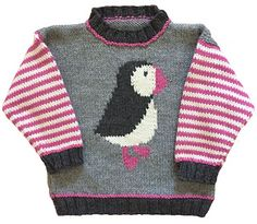 Ravelry: Puffin Pullover pattern by Gail Pfeifle, Roo Designs Baby Sweater Knitting Pattern, Baby Knitting Patterns, Baby Patterns, Baby Pullover, Baby Cardigan, Pull Bebe, Big Knit Blanket, Big Knits, Knitting For Kids