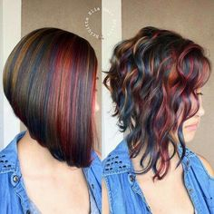 """This was a fun project"" Loving this color arrangement, the sleek and the wa. ""This was a fun project"" Loving this color arrangement, the sleek and the waved … which one do you prefer ? Haircut And Color, Hair Color And Cut, Cool Hair Color, Medium Hair Styles, Curly Hair Styles, Natural Hair Styles, Great Hair, Hair Today, Short Hair Cuts"