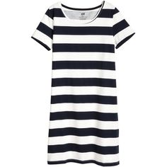 T-shirt Dress $12.99 (125 MAD) ❤ liked on Polyvore featuring dresses, white jersey dress, striped tee shirt dress, white t-shirt dresses, short sleeve dress and stripe t shirt dress