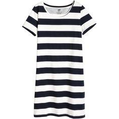 T-shirt Dress $12.99 ($13) ❤ liked on Polyvore featuring dresses, jersey t shirt dress, white dresses, stripe t shirt dress, striped t-shirt dresses and jersey dress