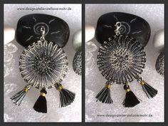 wire crochet pendant DREAM CATCHER black/dark grey/silver with tassels