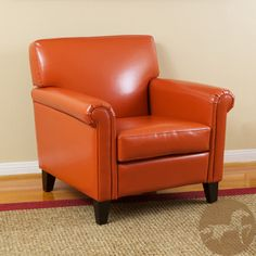 Christopher Knight Home Rolled Arm Leather Burnt Orange Club Chair    Contemporary   Chairs   By Overstock