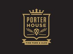 Porter House by Doublenaut | Crest logo for a Toronto restaurant specializing in vegan fare and fine ales.
