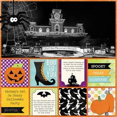 Disney Scrapbook Page Layout - Disney At Halloween by Stephanie of Bee Tree Studios