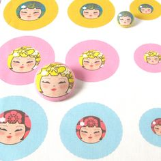 Fabric Panel - Make your own Funky Kokeshi covered buttons - set of 9 covers £3.75