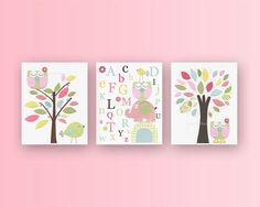 Baby Girl Room Ideas: Nursery wall Art Print For Girls, Baby Girl Room Decor / Love Bird owl Elephant // Set of 3 8x10 // Hayley Bedding