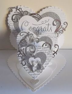 Triple Easel card using the retired heart dies,