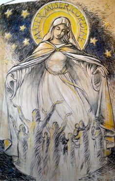 A beautiful depiction of those we pray for, being placed under Mother Mary's mantle.
