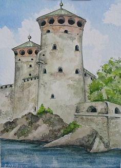 Buy The Olavinlinna Castle Original cityscape watercolor painting by Svetlana Vorobyeva., Watercolor by Svetlana Vorobyeva on Artfinder. Discover thousands of other original paintings, prints, sculptures and photography from independent artists. Watercolour, Watercolor Paintings, Original Artwork, Original Paintings, Fortification, Simple Art, Impressionist, Lovers Art, Buy Art
