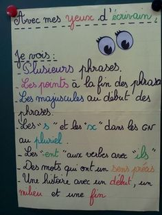 - (page - Chez Madame Têtard French Classroom Decor, Writers Eye, Tatto For Men, Cycle 3, Core French, French Grammar, French Expressions, Teachers Corner, French Language Learning