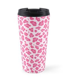 'Trendy Pink Leopard Print' Travel Mug by NewParkLane Diy Painted Vases, Best Coffee Mugs, Glass Water Bottle, Pink Leopard Print, Dresses With Leggings, Vintage Gifts, Diy Painting, Drinkware, Decorative Throw Pillows