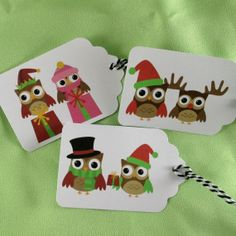 Christmas gift tags holiday gift tags owls by BellaCardCreations, $4.20
