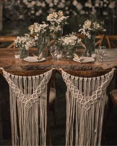 Macrame wedding chair cover, macrame wall hanging, boho wedding decor Macrame chair back for weddings, ceremonies, and events. This beautiful macrame chair back is perfect for the back of a bride's and groom's Rustic Boho Wedding, Diy Wedding, Wedding Ideas, Dream Wedding, Bohemian Weddings, Wedding Inspiration, Wedding Ceremony, Bohemian Bride, Forest Wedding