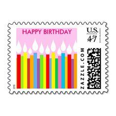 Happy Birthday Postage Stamp - Pink