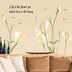 Lily Flowers Wall Sticker Vinyl Wall Stickers Home Decor Bedroom Backdrop Wall Decals Removable Wall Stickers, Vinyl Wall Stickers, Vinyl Wall Art, Wall Decals, Pvc Wall, Tree Wall Art, Wall Stickers Home Decor, Flower Quotes