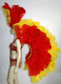 Yellow and Red Ostrich Feather Wings- Backpiece