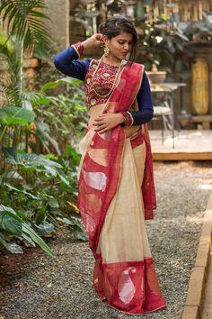 Banaras pure silk tissue saree with red border #houseofblousedotcom #saree #blouse #india #banaras House Of Blouse, Traditional Fashion, Indian Attire, Handloom Saree, Cotton Saree, Draping, Indian Girls, Indian Sarees, Sarees Online