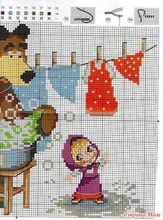 Маша и медведь (схема) Cross Stitch Alphabet Patterns, Disney Cross Stitch Patterns, Cross Stitch For Kids, Cross Stitch Baby, Cross Stitch Designs, Beaded Cross Stitch, Cross Stitch Flowers, Cross Stitch Embroidery, Pixel Crochet