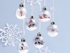Christmas Baubles with a Drawing of Polar Animals inside . Diy Christmas Baubles, Diy Christmas Gifts, Christmas Bulbs, Xmas, Holiday Decor, Polar Animals, Sustainable Design, Christmas Inspiration, Decoration
