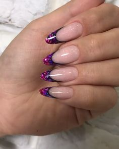 Nails gel, we adopt or not? - My Nails Purple Acrylic Nails, French Acrylic Nails, Gold Nail Art, Almond Acrylic Nails, French Tip Nails, Best Acrylic Nails, Purple Nails, Gold Nails, Glitter Nails