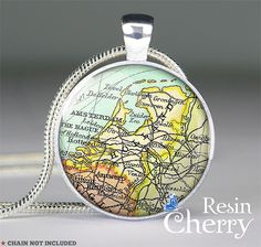 vintage Holland map resin pendant