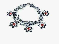 Crochet Necklace Red Blue White Layered Star Necklace by Nakkashe