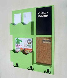 Mail Organizer -  Cork Board - Chalkboard -  Coat Rack - Key Hooks - Coat Hooks - Jar Vase - Wood
