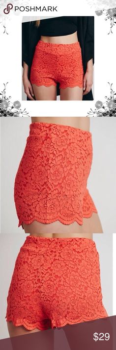 {Free People} NWOT High Waist Scallop Lace Shorts Measurements coming soon! Aubrey shorts. Manufacturer Color is Dragonfruit. Hidden side zip and hook closure. Floral lace print. Coral orange. Cotton/Nylon/Spandex. Fabric provides stretch. Bundle for discounts! Thank you for shopping my closet! Bin 47 Free People Shorts