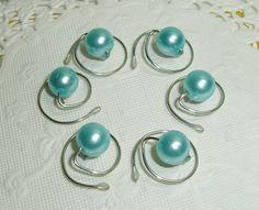 Aqua Bridal Party Glass Pearl Hair Swirls Twist by hairswirls1