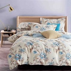 Blue Peony Floral Doona Quilt Duvet Cover Set Double Queen King Super King Size