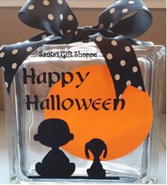 Halloween Decals  Charlie Brown Inspired-Glass Block