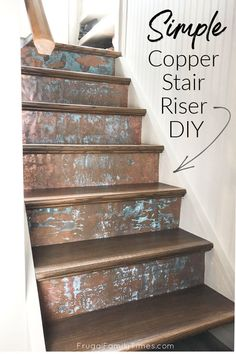 This gorgeous copper stair riser makeover is so much simpler than it looks! No tools, beyond scissors required for this simple DIY stair riser project. Decorative stair risers are such a simple way for big impact and these patina copper risers are modern, industrial and give so much interest! Stair Risers, Diy Stair, Stairs, Decorating Your Home, Porch Decorating, Diy Home Decor, Under Bed Storage Containers, Do It Yourself Organization, Stair Makeover