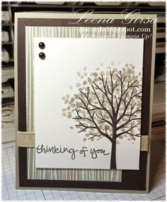 Stampin' Up! Sheltering Tree, Sympathy card by Leena Girsa