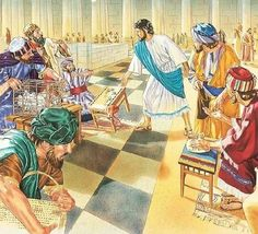 Jesus in the temple Bible Illustrations, Illustration Art, Jesus In The Temple, Easter, Costumes, God, Painting, Dios, Dress Up Clothes