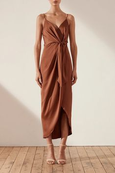 Womens copper bronze brown slinky body con dress in size 8 10 12 and 14