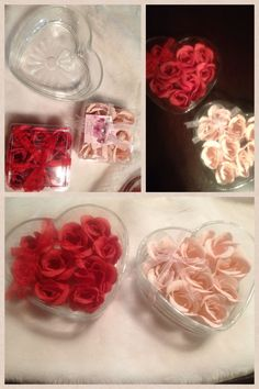 Easy DIY bathroom decorations from The Dollar Tree!! Or for just a romantic feel in the bedroom!! Or a Valentine Gift!! Scented plastic flowers (smells like real roses) and the heart shaped glass container..