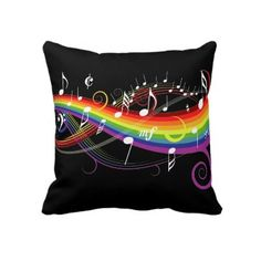 Rainbow White Music Notes Square Throw Pillow by giftsbonanza