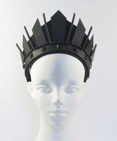 Black Art Deco Handmade Crown Headpiece by Loschy by Loschy Weddings, Coachella, Burning Man, MUSIC FESTIVAL SEASON