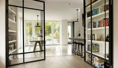 kamer ensuite modern at DuckDuckGo Steel Windows, Windows And Doors, Steel Doors, Style At Home, Interior Architecture, Interior And Exterior, Glass Room Divider, Room Dividers, Home Fashion