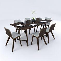 3d c4d dining table set