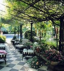 Courtyards, patios, garden rooms, and outdoor rooms, porches and great places for plants flowers trees, real or faux.