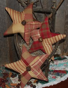 Beautiful Quilt Top Christmas Stars Ornies by OldeAnniePrimitives