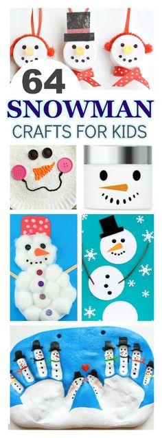 SNOWMAN CRAFTS FOR KIDS: 65 fun & creative ideas! #snowmancrafts #wintercraftsforkids