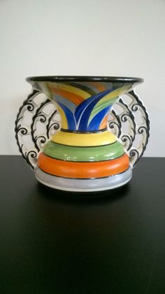 Art Deco Vase Ditmar Urbach hand painted in Czechoslovakia