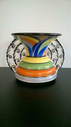 Art Deco Vase Ditmar Urbach hand painted in Czechoslovakia