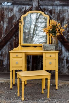 mustard_yellow_vanity_makeover. Yellow furniture redo ideas. Lots of ideas to add a pop of yellow to your house!